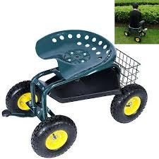 garden cart rolling swivel work seat