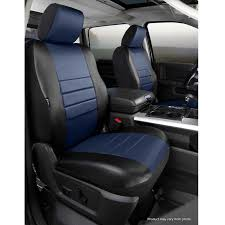 fia leatherlite custom fit seat covers front seat black with blue center panel pair
