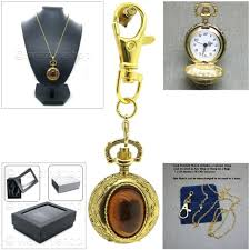 gold pendant pocket watch women gift set 2 ways with necklace and key chain l51