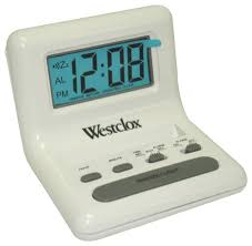 westclox 8 white lcd alarm clock with light