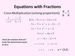 6 equations with fractions cross multiplication solving