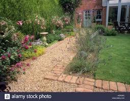 Small Picture Path gravel brick small back garden design lawn house border
