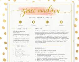 resume template cv template for ms word 4 pack social media icons beautiful custom header watercolor resume instant download e media resume template