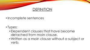 Sentence Fragments Sentence Fragments