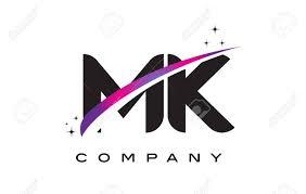 Mk Logo Design Vector Mk M K Black Letter Logo Design With Purple Magenta Swoosh And