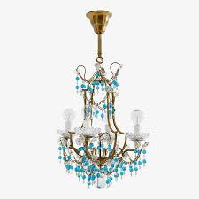 vintage italian beaded chandelier blue enlarge image exit full screen