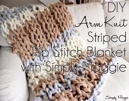 diy arm knit striped rib stitch blanket