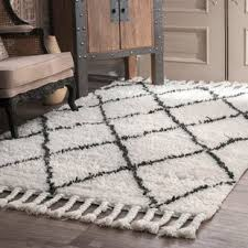 gray and white rug. Twinar Hand-Knotted Wool Off White/Dark Grey Area Rug Gray And White H