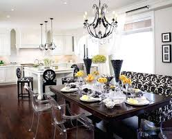 recessed lighting under counter with crystal pendants chandelier over kitchen island and dinning room picture design