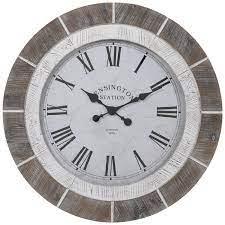 brown white wood wall clock hobby