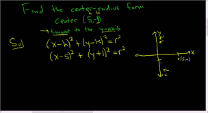 finding the center radius form of a circle given the center and a tangent line