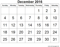 2016 December Calendar Image Coloring Pages Printable