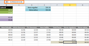 Calcular Horas Extras En Excel Excel Total