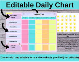 Editable Bedtime Routine Chart Daily Routine Editable Chart Digital Download Routine Chart Daily Chart Chores