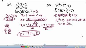 solving polynomial equations by factoring and quadratic formula you