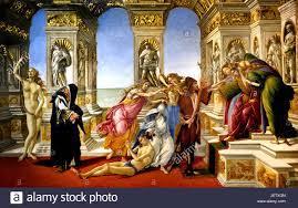 La calumnia de Apelles 1495 Sandro Botticelli ( Alessandro di Mariano  Filipepi ) 1445-1510 Florencia pintor italiano del Renacimiento temprano de  la escuela florentina. (Hizo Botticelli esta pintura en la descripción de