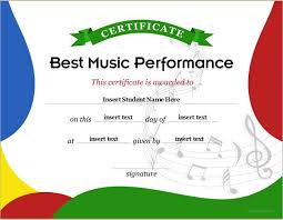 Best Performance Award Certificate Best Music Performance Award Certificates Professional