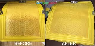 yellow leather handbag cleaning