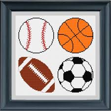 Sports Sampler Baseball Basketball Football And Soccer Ball Cross Stitch Pattern Instant Digital Pdf Download