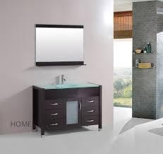 Vanity Bathroom Set 48 Inch Single Vanity Bathroom Tempered Glass Sink Cabinet Combo Set