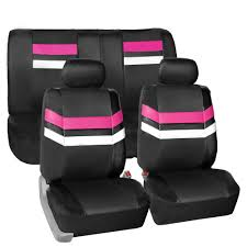 pink pu leather car seat covers front rear full set synthetic leather auto 0
