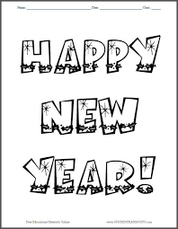 Small Picture Happy New Year Coloring Page Student Handouts