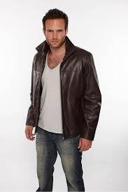 mens harrington leather jacket in dark brown