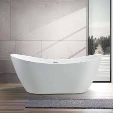 acrylic flatbottom freestanding bathtub in white
