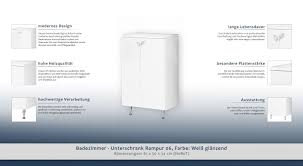 Badezimmer Unterschrank Rampur 06 Farbe Weiß Glänzend 81 X 50