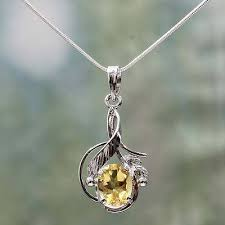 citrine flower necklace golden blossom sterling silver and citrine necklace fair trade