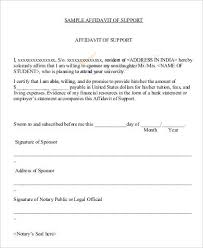 8 Sample Affidavit Of Support Letters Pdf Sample Templates