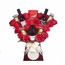 red wine and roses chocolate bouquet