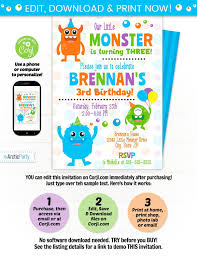 Free Party Invites Templates Monster Birthday Invitation Template Inspirational