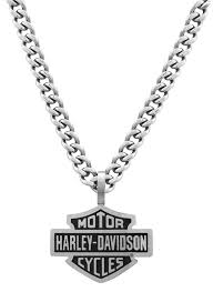 harley davidson mens stainless steel bar shield pendant curve