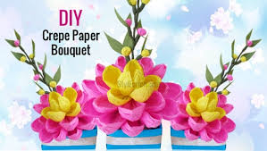 How To Make Paper Flower Bouquet Step By Step Diy Easy Paper Craft How To Make A Pretty Crepe Paper Flower