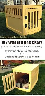 diy wooden dog crate that doubles as an end table dog house