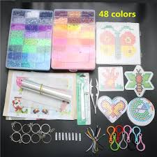 Mini Perler Bead Patterns New 48mm EVA Hama Beads Set Toy DIY Mini Perler Beads Pegboard Tangram