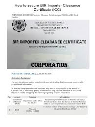 How To Secure Bir Importer Clearance Certificate Notary Public