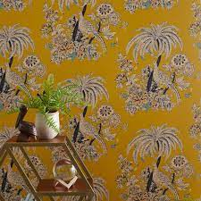 Peel and Stick Yellow Printed Wallpaper ...