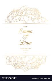 Wedding Cards Template Wedding Invitation Card Template Rose Flowers Gold