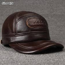 <b>SILOQIN</b> Adjustable Size <b>Men's</b> 100% <b>Genuine</b> Leather Cap <b>Winter</b> ...