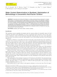 water content determination in biosel optimization of methodology in coulometric karl fischer titration pdf available