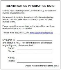 Information Spectrum Cards Identity Fetal Disorder Alcohol