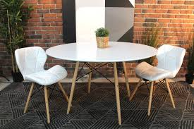 eames style round white dining table with eiffel legs wazo furniture round white table top73 round