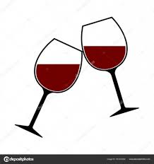 red wine glasses clink vector isolated cheers stock vector