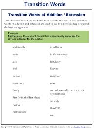 Addition Extension Transition Words K12reader Com