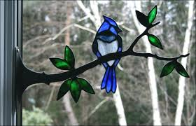 stained glass birds design 1 single only blue jay with berries stained glass birds on a