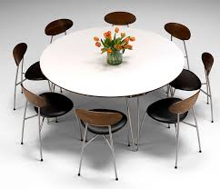 image of contemporary round dining table for 8