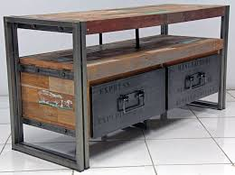 industrial metal furniture. tv entertainment console with 2 drawers and 1 shelf made from steel salvaged reclaimed rustic industrial furnituremetal metal furniture
