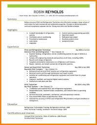 Simple Free Sample Resume For Hvac Technician Hvac Resume Samples